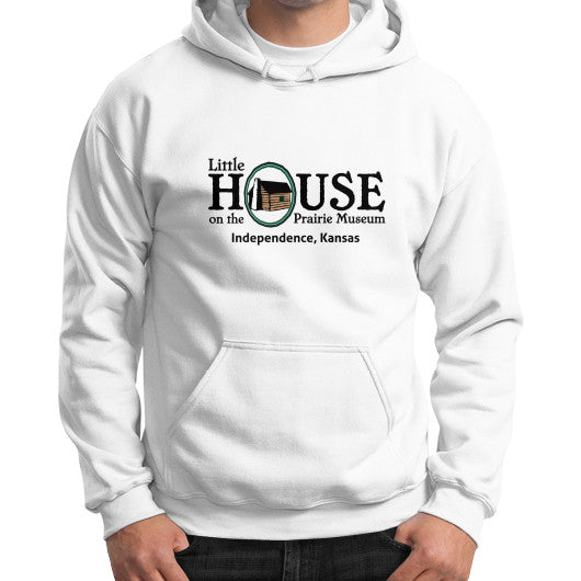 Gildan Hoodie (on man) White Little House on the Prairie Museum