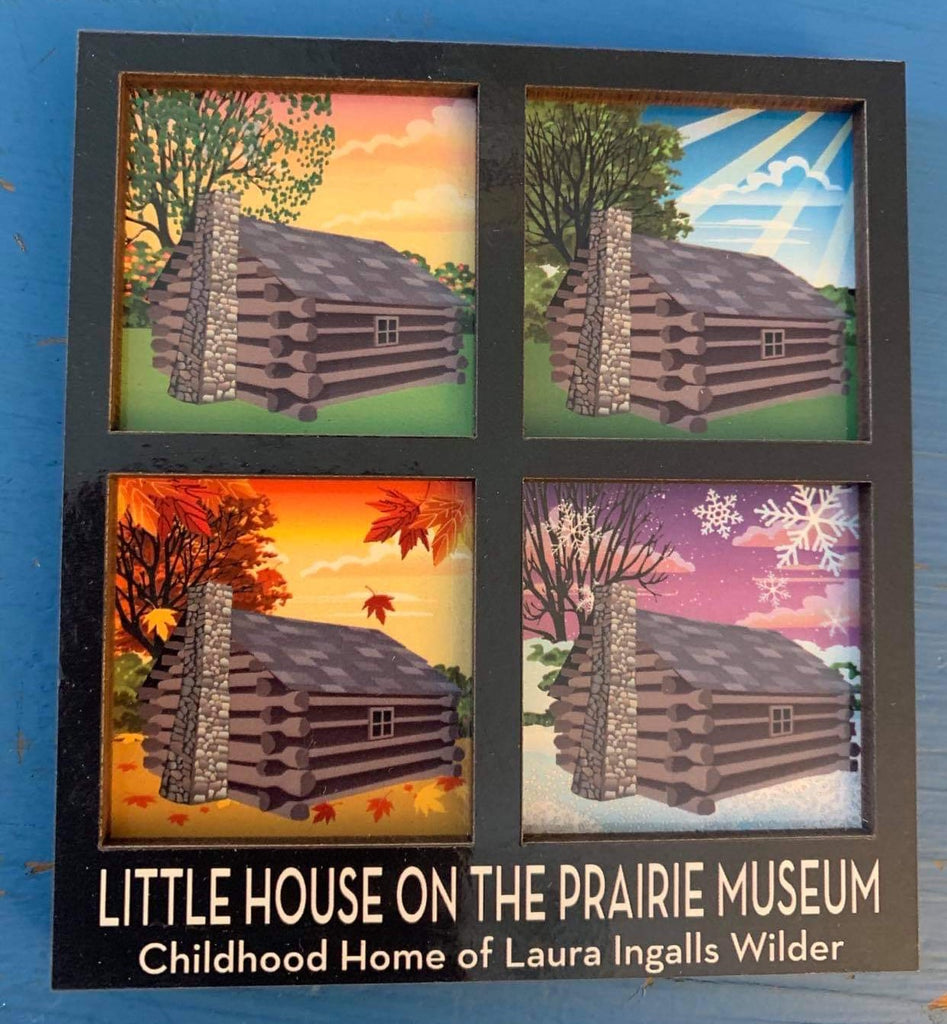 Little House on the Prairie Museum Log Cabin Magnet and Carrie Ingalls Ornament
