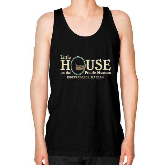 Unisex Fine Jersey Tank (on man) Black Little House on the Prairie Museum