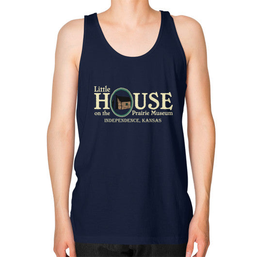 Unisex Fine Jersey Tank (on man) Navy Little House on the Prairie Museum