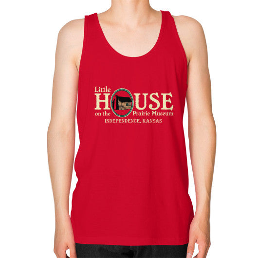 Unisex Fine Jersey Tank (on man) Red Little House on the Prairie Museum