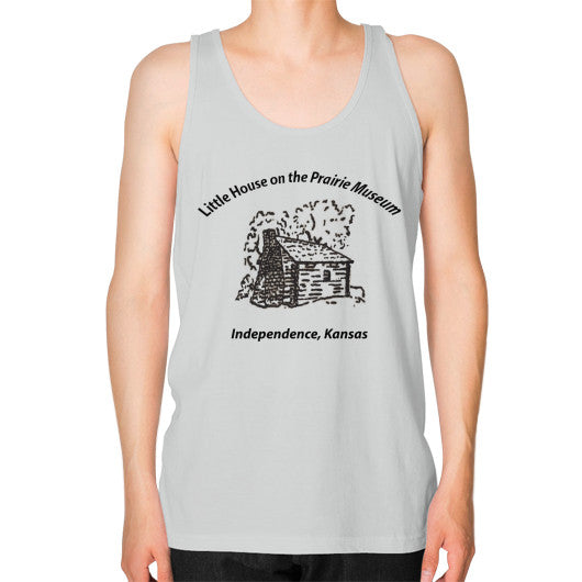 Unisex Fine Jersey Tank (on man) Silver Little House on the Prairie Museum