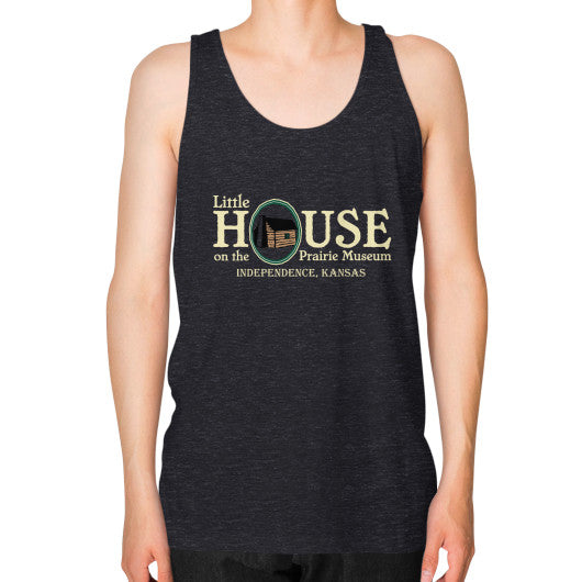 Unisex Fine Jersey Tank (on man) Tri-Blend Black Little House on the Prairie Museum