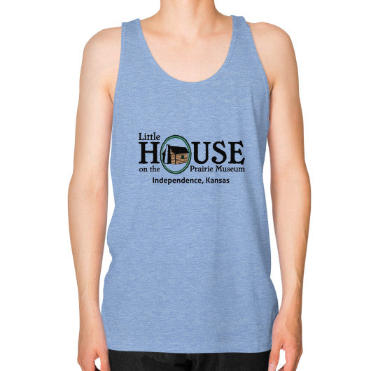 Unisex Fine Jersey Tank (on man) Tri-Blend Blue Little House on the Prairie Museum