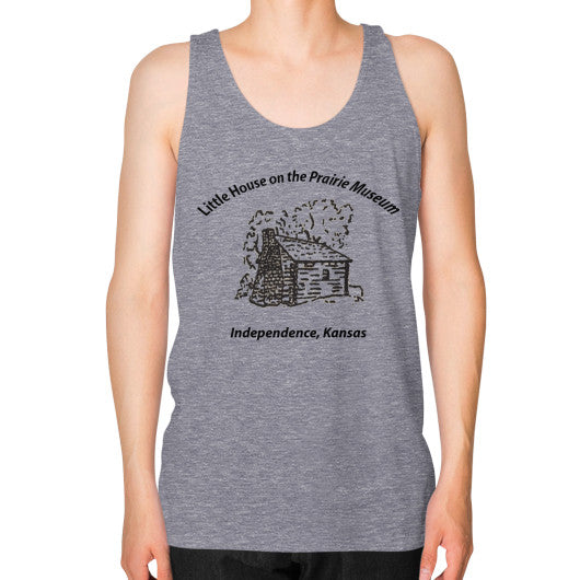 Unisex Fine Jersey Tank (on man) Tri-Blend Grey Little House on the Prairie Museum