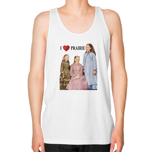 Unisex Fine Jersey Tank (on man) White Little House on the Prairie Museum