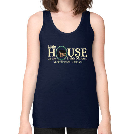 Unisex Fine Jersey Tank (on woman) Navy Little House on the Prairie Museum