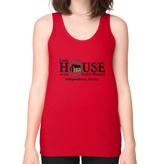 Unisex Fine Jersey Tank (on woman) Red Little House on the Prairie Museum