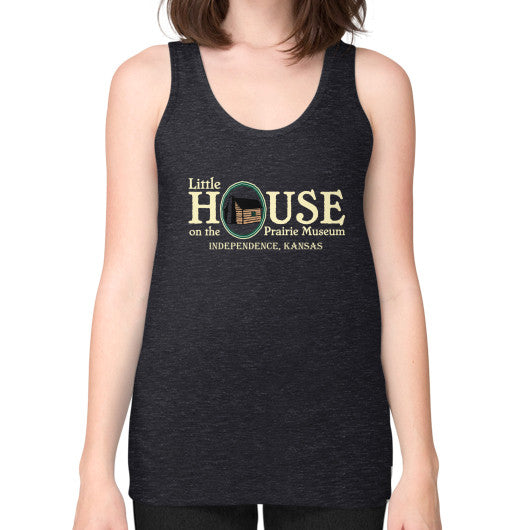 Unisex Fine Jersey Tank (on woman) Tri-Blend Black Little House on the Prairie Museum