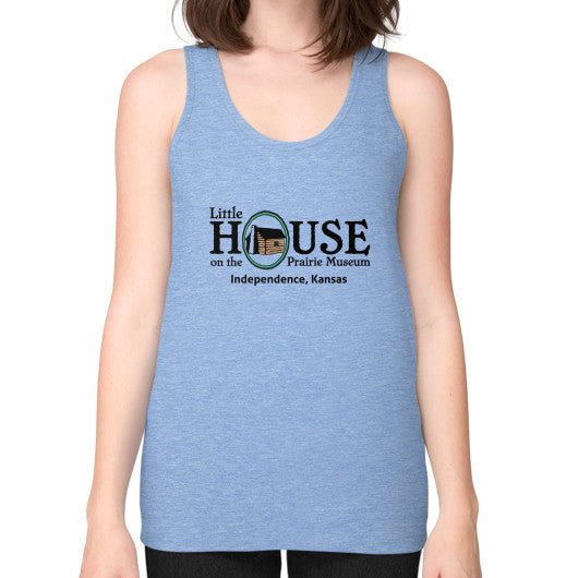 Unisex Fine Jersey Tank (on woman) Tri-Blend Blue Little House on the Prairie Museum
