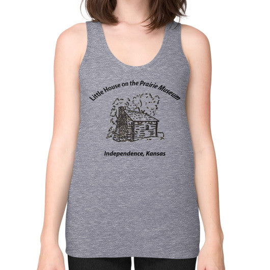 Unisex Fine Jersey Tank (on woman) Tri-Blend Grey Little House on the Prairie Museum
