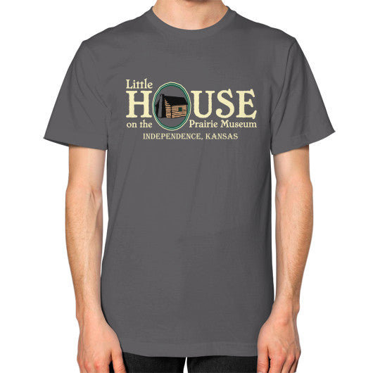 Unisex T-Shirt (on man) Asphalt Little House on the Prairie Museum