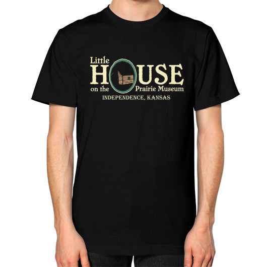 Unisex T-Shirt (on man) Black Little House on the Prairie Museum