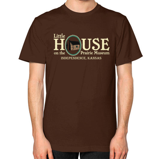 Unisex T-Shirt (on man) Brown Little House on the Prairie Museum