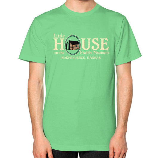 Unisex T-Shirt (on man) Grass Little House on the Prairie Museum