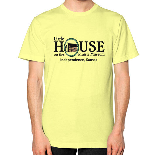 Unisex T-Shirt (on man) Lemon Little House on the Prairie Museum