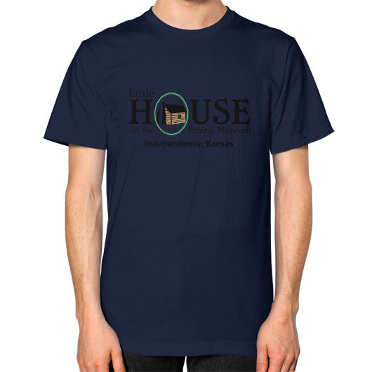Unisex T-Shirt (on man) Navy Little House on the Prairie Museum