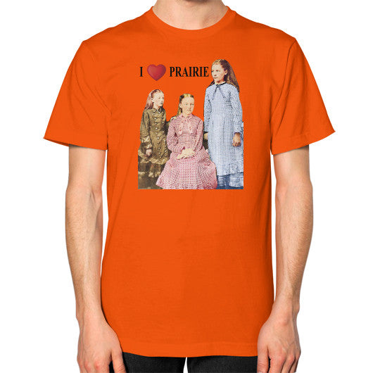 Unisex T-Shirt (on man) Orange Little House on the Prairie Museum