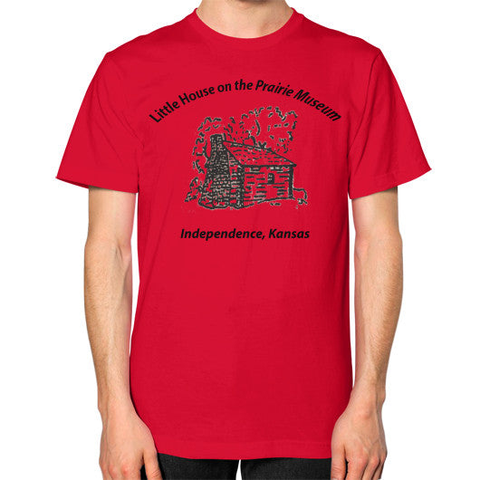Unisex T-Shirt (on man) Red Little House on the Prairie Museum