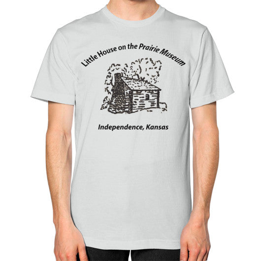Unisex T-Shirt (on man) Silver Little House on the Prairie Museum