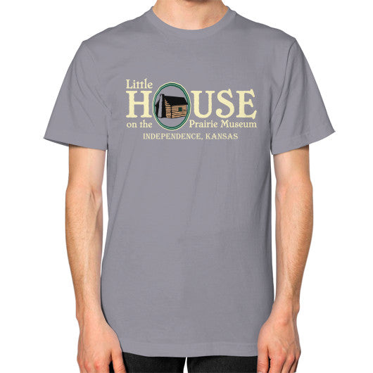 Unisex T-Shirt (on man) Slate Little House on the Prairie Museum