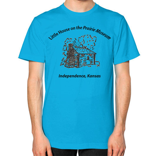 Unisex T-Shirt (on man) Teal Little House on the Prairie Museum