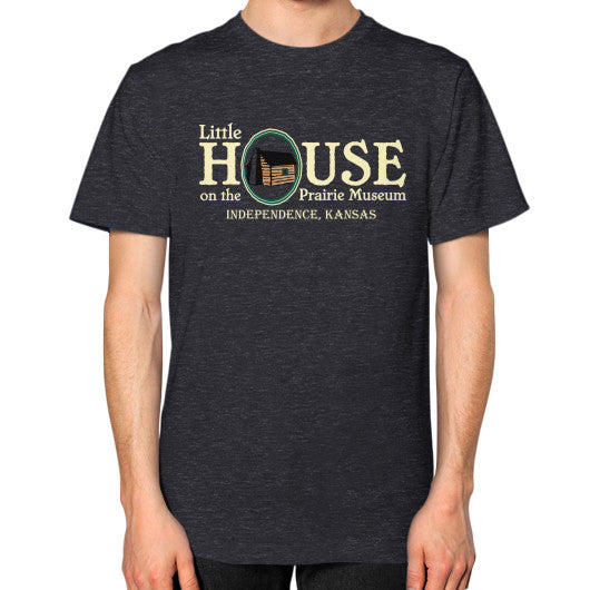 Unisex T-Shirt (on man) Tri-Blend Black Little House on the Prairie Museum