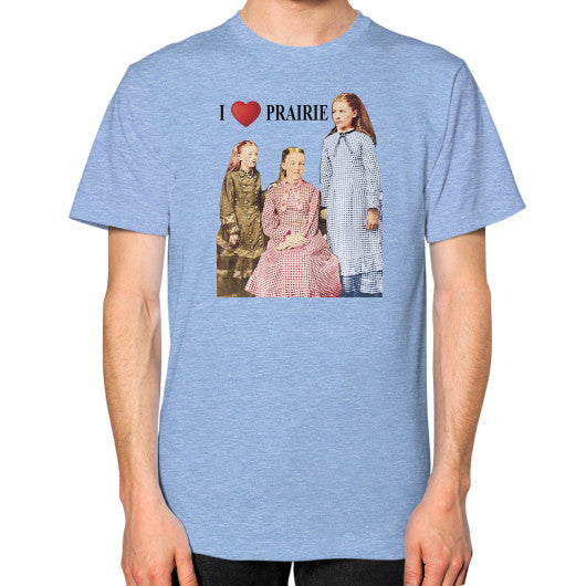 Unisex T-Shirt (on man) Tri-Blend Blue Little House on the Prairie Museum