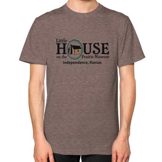 Unisex T-Shirt (on man) Tri-Blend Coffee Little House on the Prairie Museum