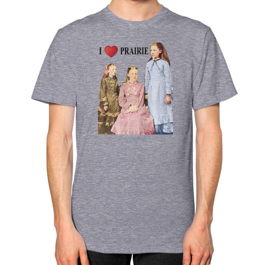 Unisex T-Shirt (on man) Tri-Blend Grey Little House on the Prairie Museum
