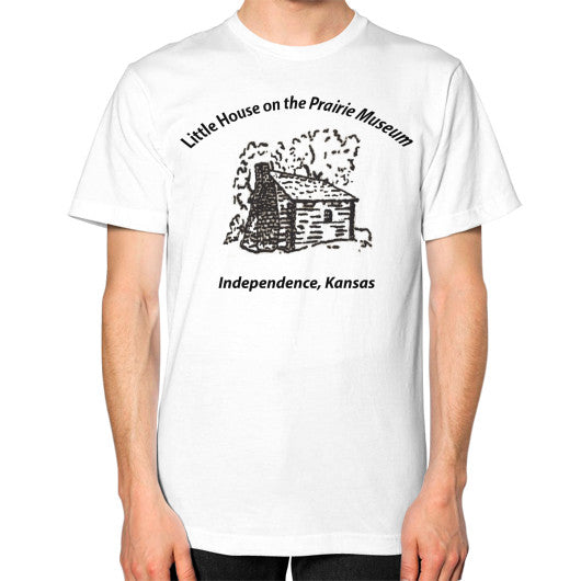 Unisex T-Shirt (on man) White Little House on the Prairie Museum