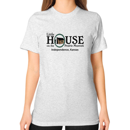 Unisex T-Shirt (on woman) Ash grey Little House on the Prairie Museum