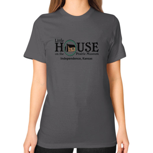 Unisex T-Shirt (on woman) Asphalt Little House on the Prairie Museum