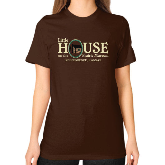 Unisex T-Shirt (on woman) Brown Little House on the Prairie Museum