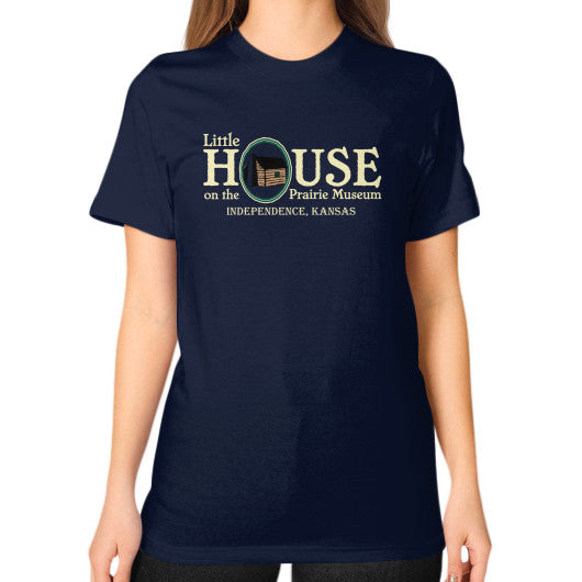 Unisex T-Shirt (on woman) Navy Little House on the Prairie Museum
