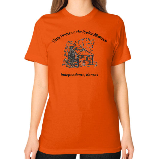 Unisex T-Shirt (on woman) Orange Little House on the Prairie Museum