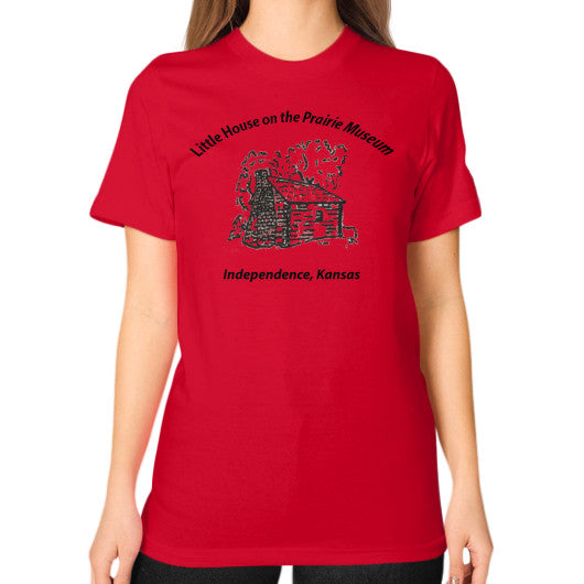 Unisex T-Shirt (on woman) Red Little House on the Prairie Museum