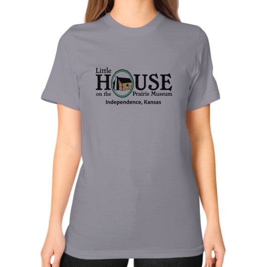 Unisex T-Shirt (on woman) Slate Little House on the Prairie Museum