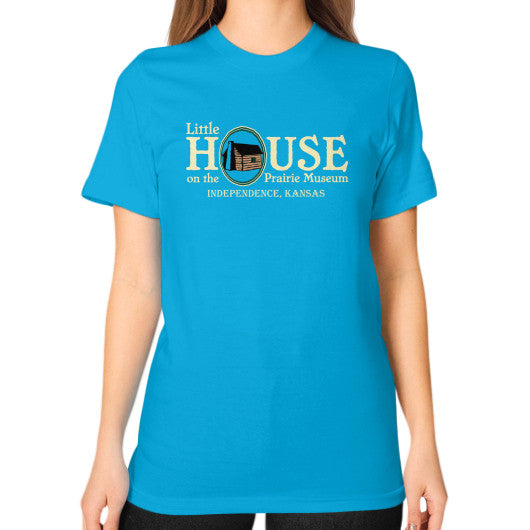 Unisex T-Shirt (on woman) Teal Little House on the Prairie Museum
