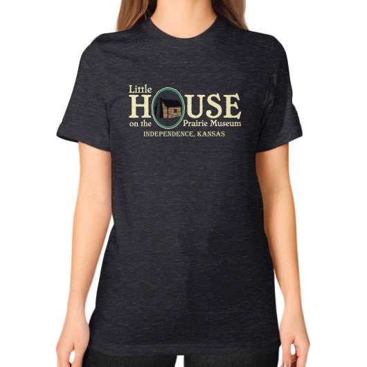 Unisex T-Shirt (on woman) Tri-Blend Black Little House on the Prairie Museum