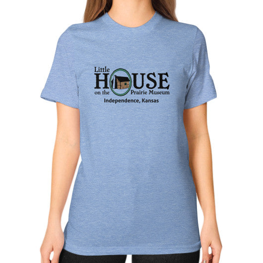 Unisex T-Shirt (on woman) Tri-Blend Blue Little House on the Prairie Museum