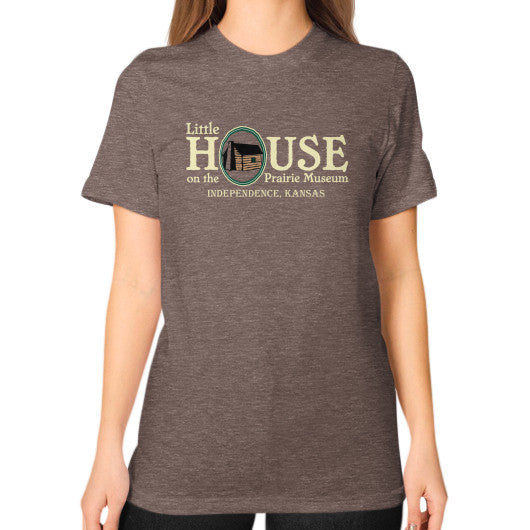 Unisex T-Shirt (on woman) Tri-Blend Coffee Little House on the Prairie Museum