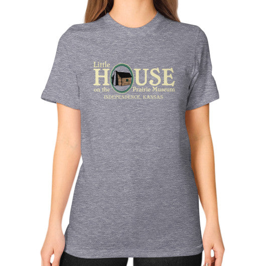 Unisex T-Shirt (on woman) Tri-Blend Grey Little House on the Prairie Museum