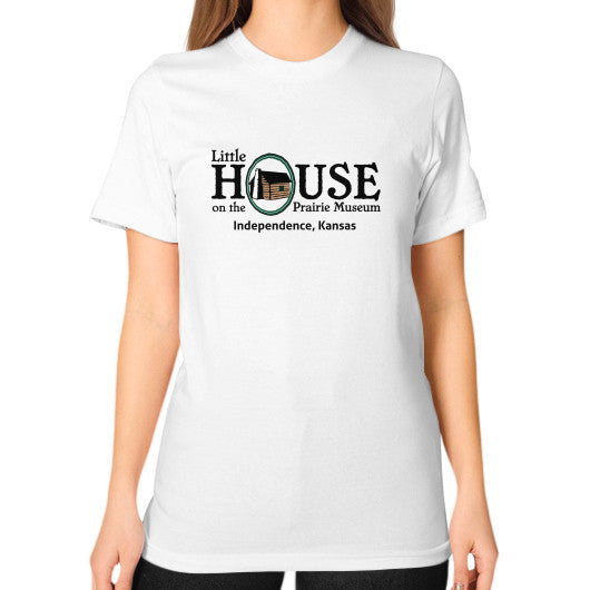 Unisex T-Shirt (on woman) White Little House on the Prairie Museum