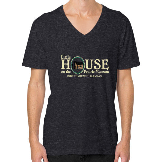 V-Neck (on man) Tri-Blend Black Little House on the Prairie Museum