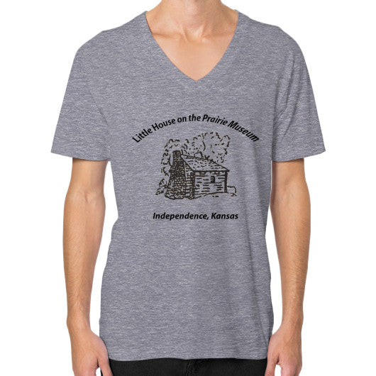 V-Neck (on man) Tri-Blend Grey Little House on the Prairie Museum
