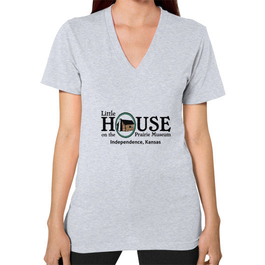 V-Neck (on woman) Heather grey Little House on the Prairie Museum