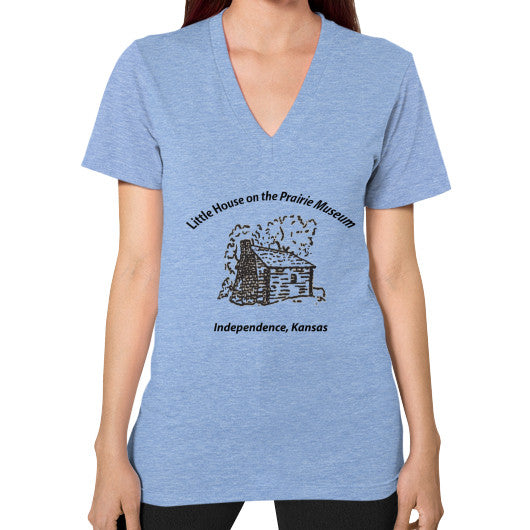 V-Neck (on woman) Tri-Blend Blue Little House on the Prairie Museum