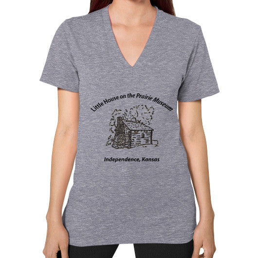 V-Neck (on woman) Tri-Blend Grey Little House on the Prairie Museum