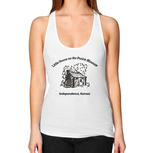Women's Flowy Racerback Tank White Little House on the Prairie Museum